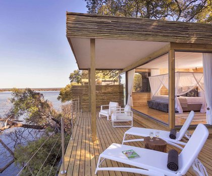 Suite deck at the Victoria Falls Island Lodge